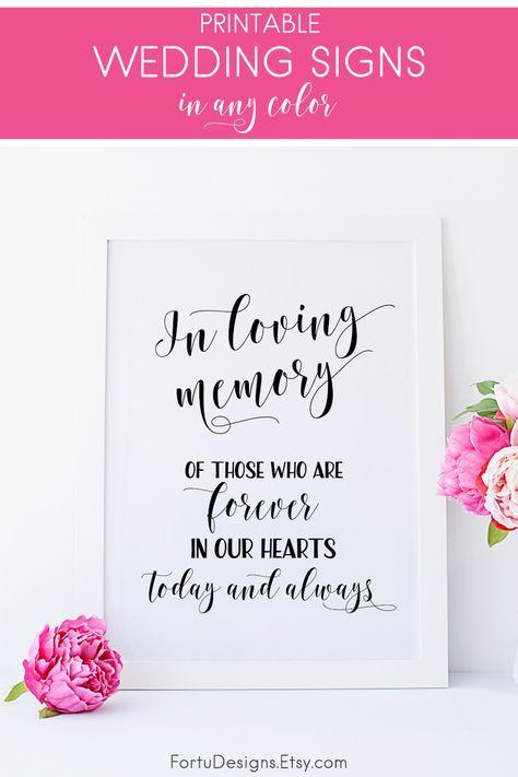 In loving memory sign Rememberance sign In loving memory wedding sign Memory table sign Wedding memory table Wedding memorial table
