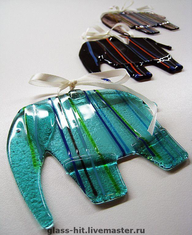 """Купить Фьюзинг.Стекло. Подвеска """"Слонёнок"""". - стекло, Фьюзинг, техника фьюзинг, слон, слонёнок, подвеска"""