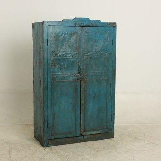 Blauwe 2 deurs kast - Kasten - Meubels