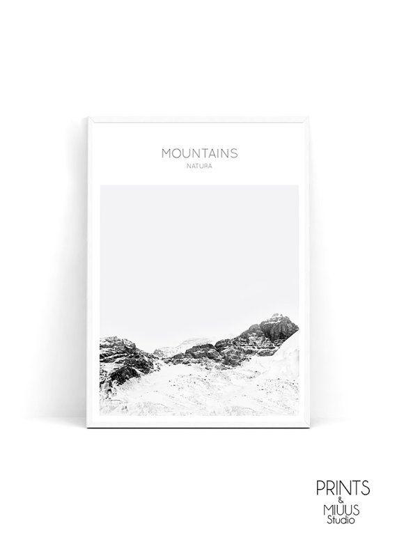 Mountain Print Modern Art Print Black and by PrintsMiuusStudio