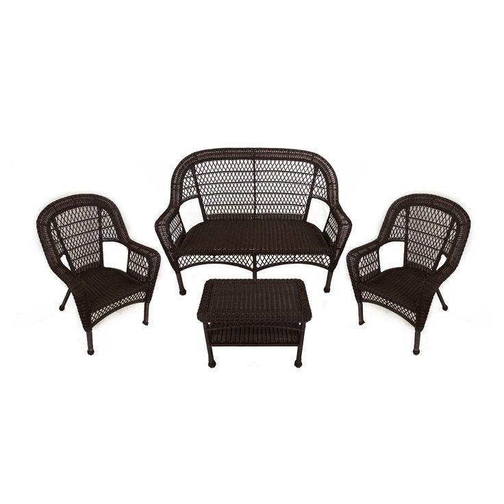 4 Piece Brown Resin Wicker Patio Furniture Set   Loveseat 2 Chairs U0026 Table