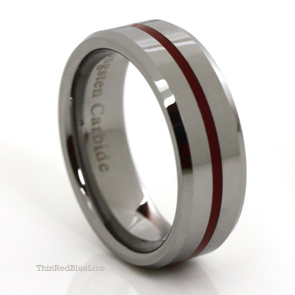 Rubber Band Wedding Rings >> Thin Red Line 8mm Red Epoxy Tungsten Carbide Ring ...