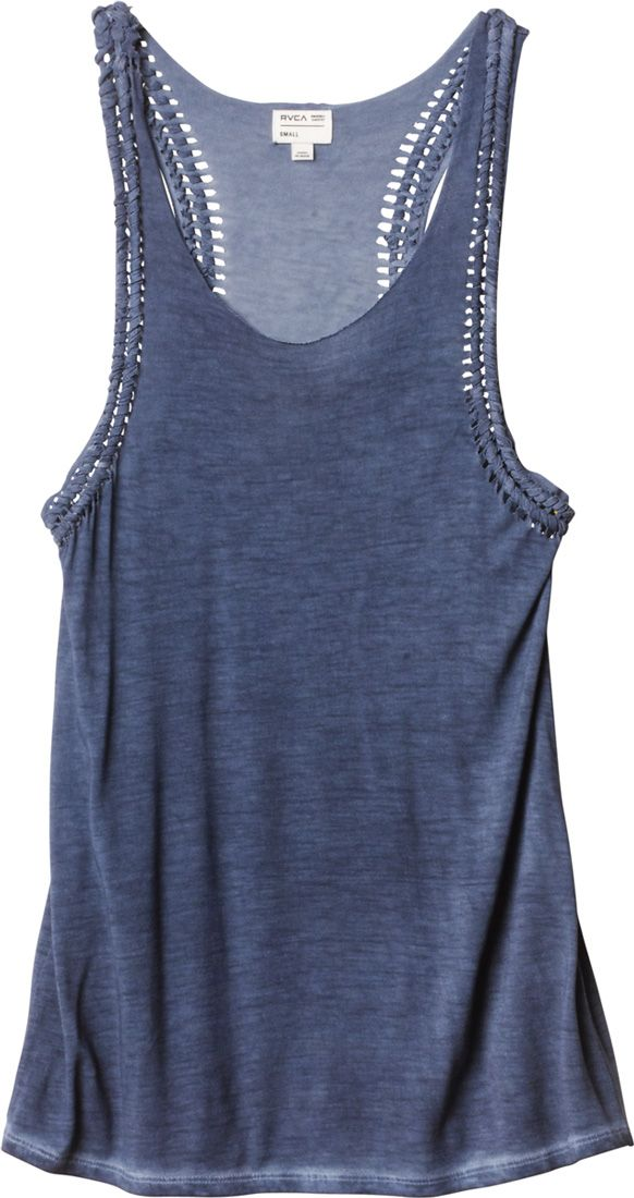 jersey knit tank top with an intricate macrame detail