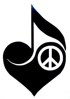peace, love, and music- Would be a good tattoo ... maybe a butterfly instead of the peace sign
