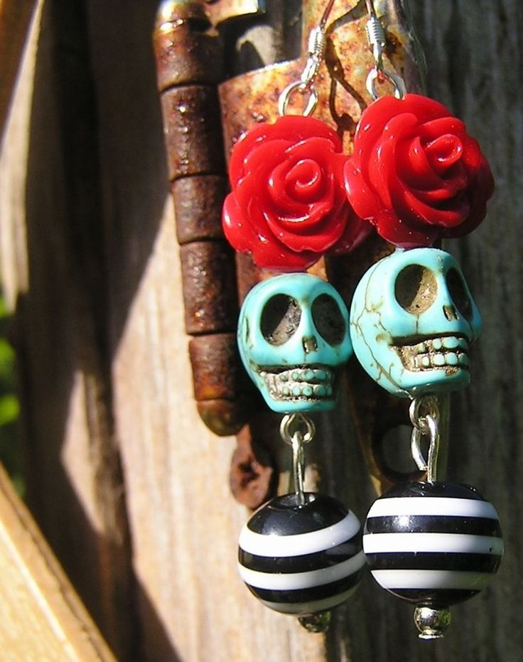 RockabiLLy Day of the Dead Jewelry Skull earrings Red Rose Blue Skull Gothic NEW #donnaelizabeth