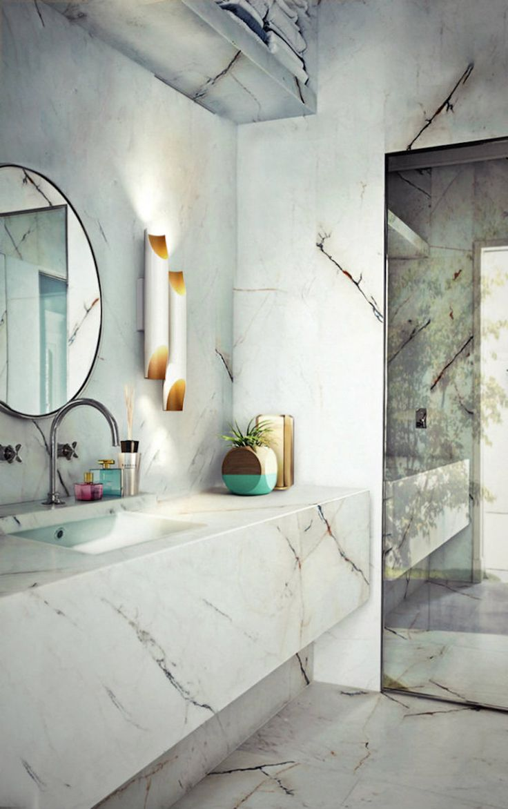 This version of Galliano retro tube is a perfect match with this marble bathroom. Don't forget it: bathroom lamps must have a special attention with which materials are the surroundings made of. Here you can see a perfect example of how the colour and shape compound makes a bathroom unique. 10 Lighting Design Ideas to Embellishing your Industrial Bathroom ➤To see more Luxury Bathroom ideas visit us at www.luxurybathrooms.eu #luxurybathrooms #homedecorideas #bathroomideas @BathroomsLuxury