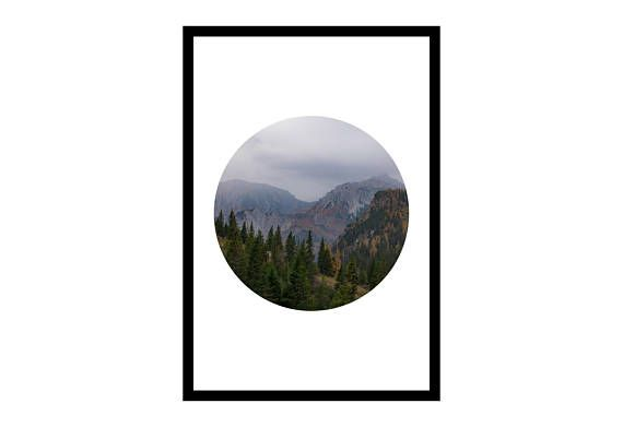 Mountain Prints Circle Print Travel Photography Foggy Art