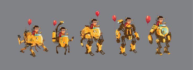 Birthday boy robot #childrenillustration #birthday #birthday illustration #characterdesign #robotillustration #mecha #mecha illustration #ballon #redballon
