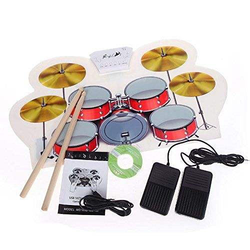 NoviameTMUSB MIDI Drum Kit PC Desktop Roll up Electronic Drum Pad Portable with Drumsticks *** Details can be found by clicking on the image.Note:It is affiliate link to Amazon.