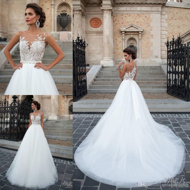 Free shipping, $196.1/Stück:buy wholesale Milla Nova Illusion Brautkleider 2016 Vintage-Appliqued Juwel Backless Brautkleider weiche Tulle-Schleife-Zug A-Linie Brautkleider from DHgate.com,get worldwide delivery and buyer protection service.