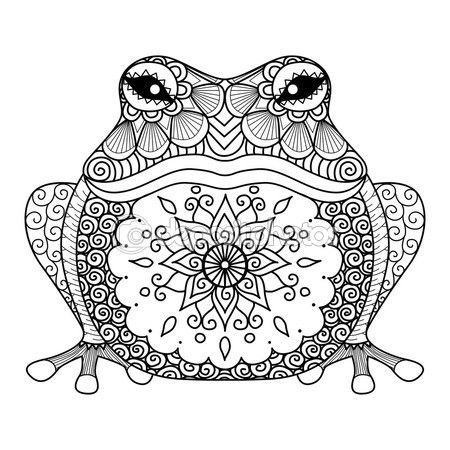 Grenouille zentangle dessiné main pour Coloriages pour adulte