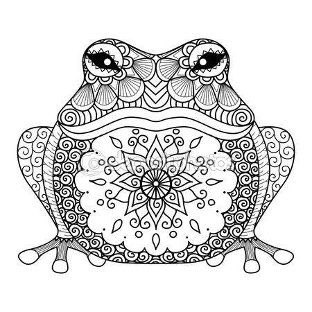 Grenouille zentangle dessiné main pour Coloriages pour adulte