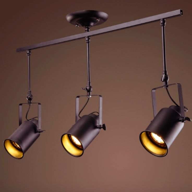 NEW Vintage Industry Iron Adjustable Led E27*1/2/3/4 Heads Pendant Track Light for Shop Restaurant Bar Decor Lamps 1663