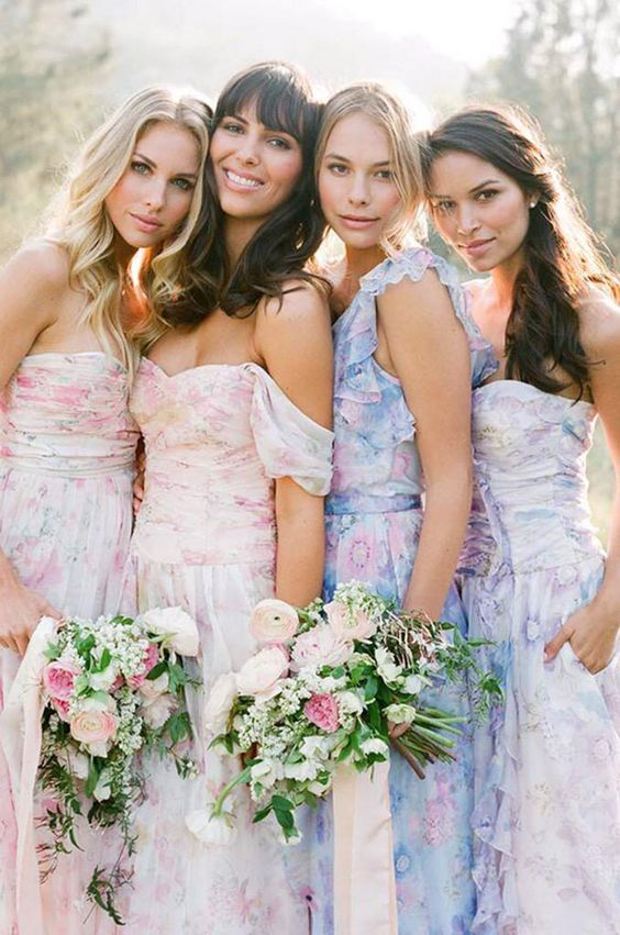 Floral print bridesmaid dresses from PPS Couture | SouthBound Bride | http://www.southboundbride.com/floral-print-bridesmaid-dresses-from-plum-pretty-sugar-pps-couture | Credit: Jose Villa
