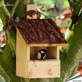 Vogelhuisje.com - Nestkast Roodborstje (met boomschorsdak) - vogelhuisje.com