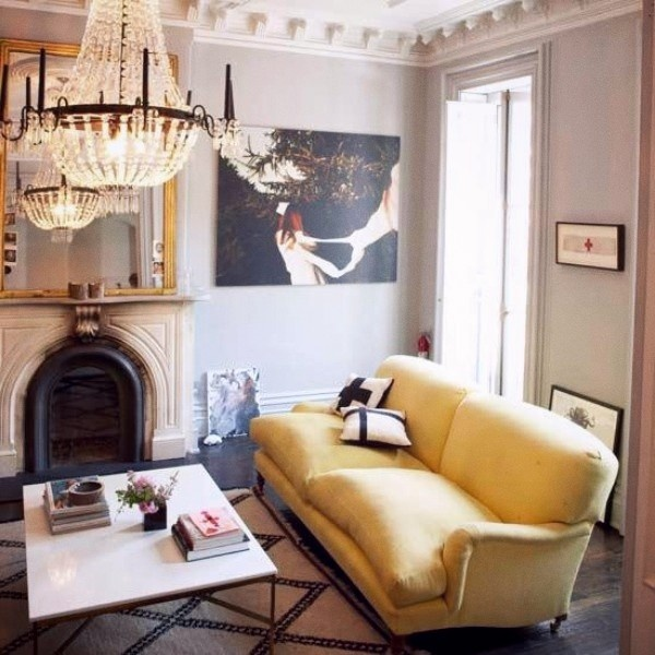 love the yellow couch and chandelier: Decor, Coffee Tables, Living Rooms, Interiors, Livingroom, Yellow Sofas, House, Yellow Couch, Gray Wall