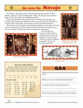 Worksheets: Native American Tribes: Navajo