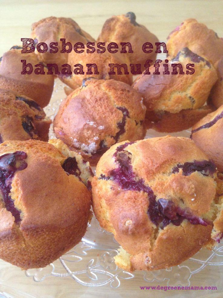 Suikervrij bosbessen en banaan muffins