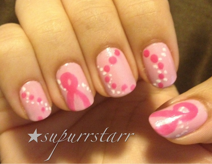 Breast cancer awareness nail art check out www.ThePolishObsessed.com for more nail art ideas.