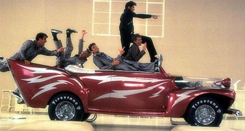 It's got to be one of the most famous scenes where the boys dance all over this Ford De Luxe in Greased Lightning