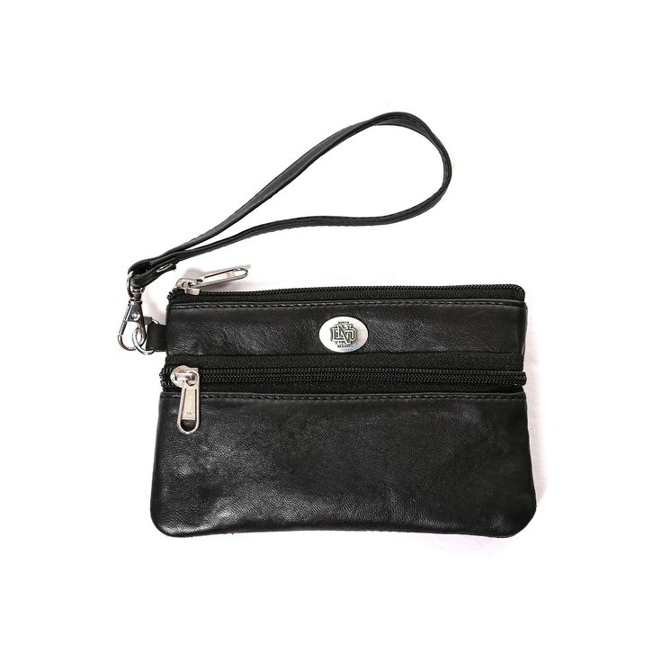 North Dakota Fighting Hawks Leather Wristlet, Women's, Black