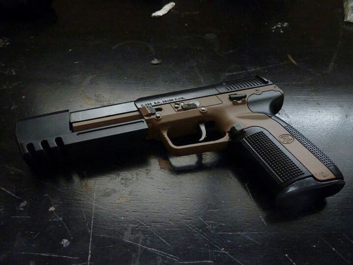 FN Herstal 5.7 The Five-seveN pistol was developed in conjunction with the FN P90 personal defense weapon and uses the same ammo. (5.7mm). jdm