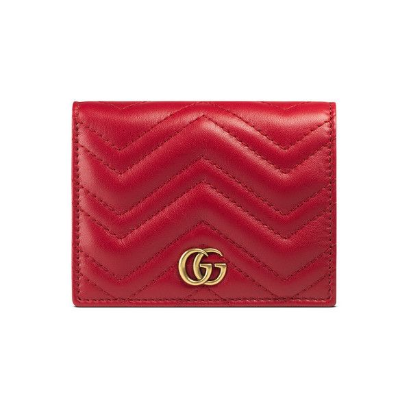 GG Marmont Card Case ($395) ❤ liked on Polyvore featuring bags, wallets, real leather wallets, genuine leather wallet, real leather bags, gucci bags and gucci