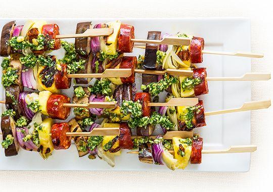 Chorizo, haloumi, artichokes and pesto – all the tastes you love threaded onto mouthwatering Antipasto Skewers.