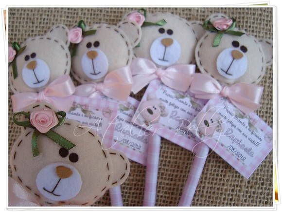Teddy bear head pencil topper/ornament/gift tag...use photo for reference