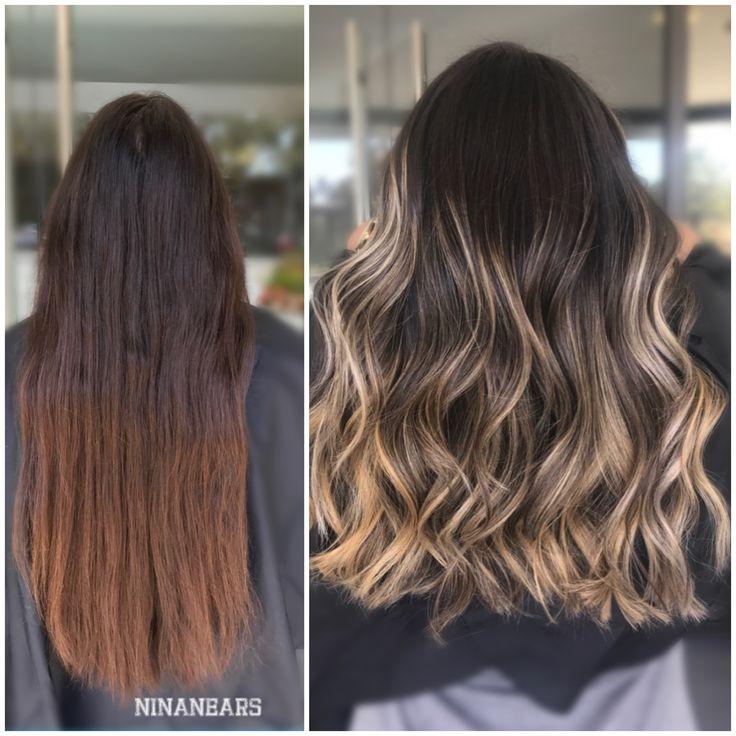 Balayage before and after transformation 2017 @ninanears