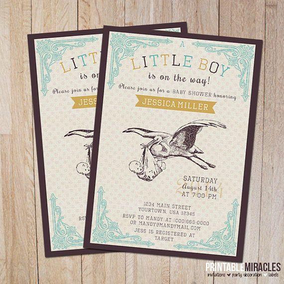 Boy Baby Shower Invitation, Printable Vintage Stork Baby Shower Invites,  Customized Vintage Baby Shower