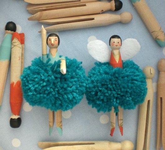 christmas tree pom pom fairies.Crafts Ideas, Pom Poms, Pompom, Pom Fairies, Peg Dolls, Handmade Gift, Clothespins Dolls, Christmas Ornaments, Christmas Trees