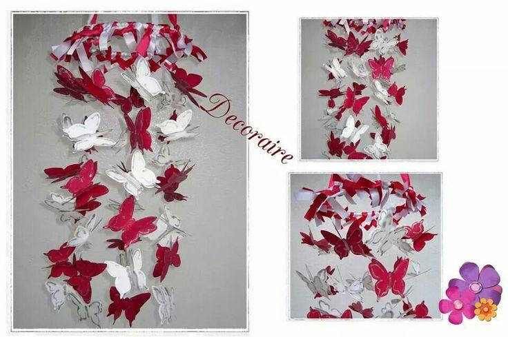 Móvil decorativo de techo de mariposas # con 86 mariposas # rosa y blanco #pink and white #handmade #hechoamano #butterfly #decoration #decoración #babyshower #baby  Más información en, jaguilera_granados@hotmail.es