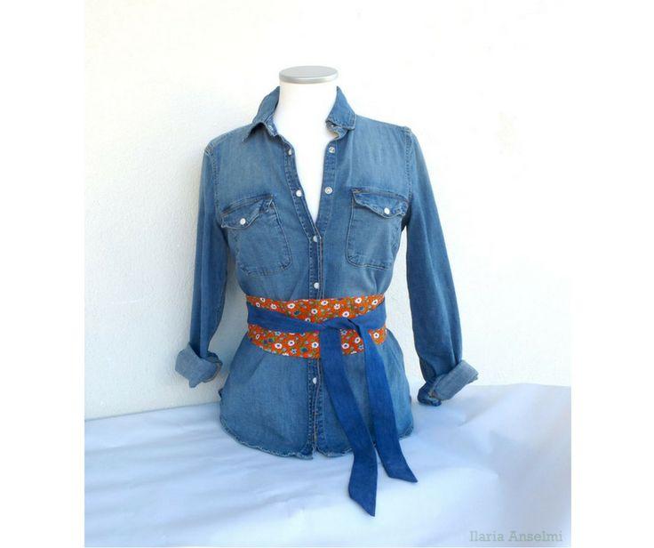 Cintura obi belt in tessuto floreale vintage anni 70 arancione blu jeans : Cinture di filoecoloridiila