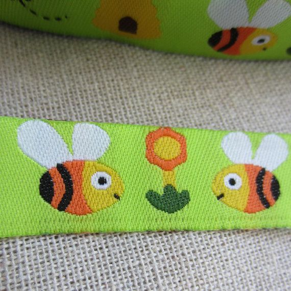 "Embroidered Ribbon. 3m (3.2yds). Bumble Bee Ribbon Trim. Pacifier clip ribbon. 16mm 5/8"" wide. AUD 2.60 Worldwide Post!"