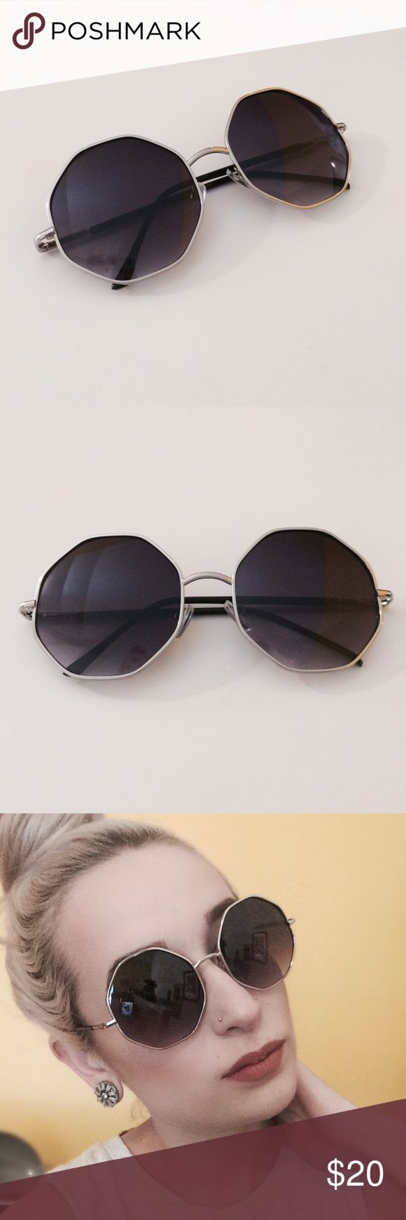🎉Sale🎉Silver Octagon Sunglasses NWTR. Brand new in retail packaging. Silver octagon framed sunglasses with black fade lenses. A new look on a old classic! Nasty Gal listed for exposure. 10% discount when bundled with 2 or more items! ⚠️No Trades⚠️ Nasty Gal Accessories Sunglasses