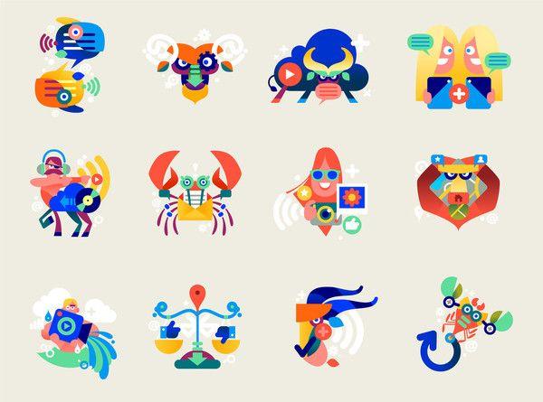 Icons, Symbols & Pictograms / Bouygues Télécom tiphaine illustration