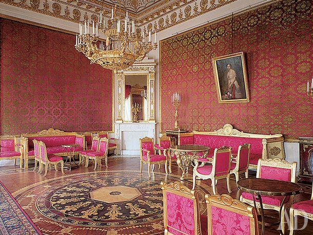 Red Living Yusupov Palace in St. Petersburg. Artist Andrei Mikhailov