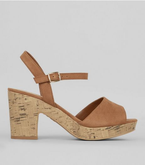 Wide Fit Tan Suedette Heeled Sandals | New Look, The Mall Luton