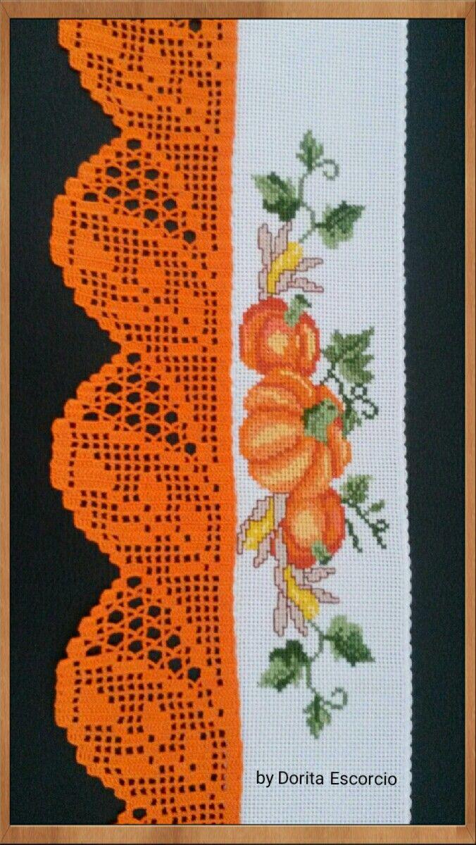 Bordado a ponto de cruz com barra em crochet … Mais