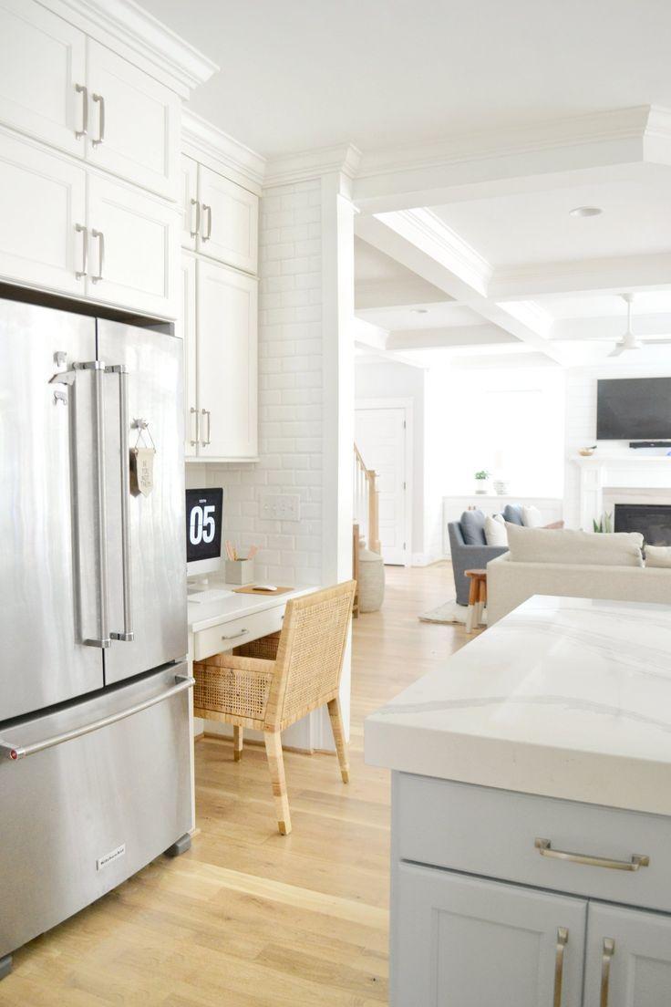 Coastal Kitchen Ideas + Our Kitchen Details  Kitchen desk areas