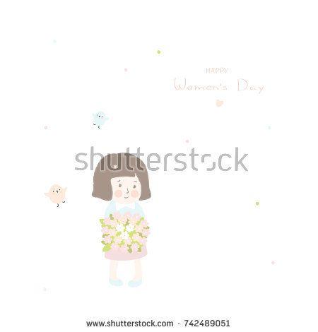 Happy Women's day card with girl. Mother's day greeting card. @knyshksenya #illustration #illustrator #ksenyaknysh #watercolor #girl #flowers #nature #illustration #art #mother #child