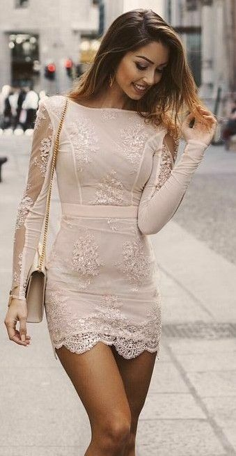 Cute white nude dress with lace and a little bag - Miladies.net