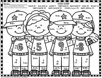 Batter Up Baseball Fun Color By Code Addition Sums 0 20