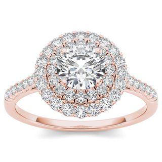 De Couer 14k Rose Gold 1ct TDW Diamond Halo Engagement Ring (H-I, I2) by De…