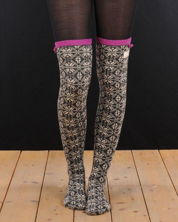Odd Molly - M511-832 Mid grey melange Jacquard long sock