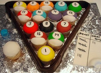 Not a recipe, but cute decorating idea for fans of billards :)