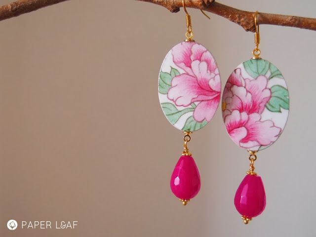 PinkPeony | handpainted paper earrings | Paper Leaf  #fauxbrokenchina #paperjewellery #handpainted #PorcelainCollection
