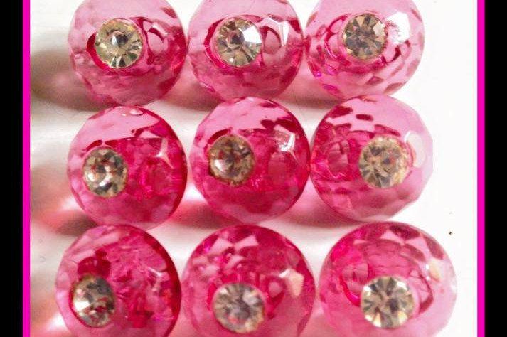 Set di 10 bottoni vintage strass rosa - 12mm- anni 50 di RomanaValerio su Etsy