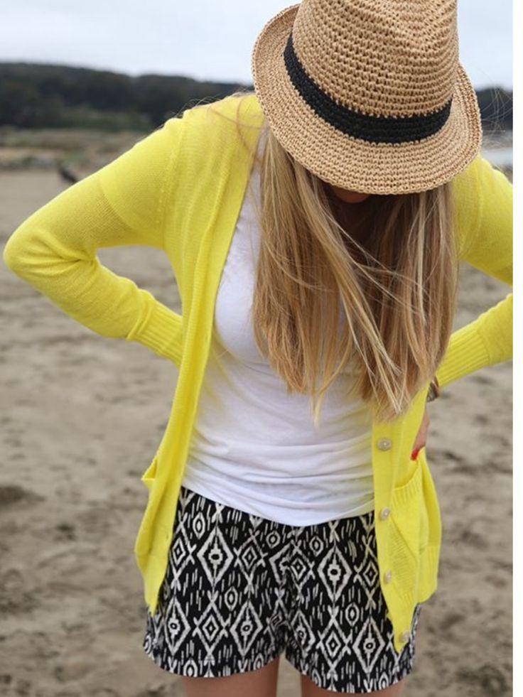 Yellow cardigan, white tshirt, straw hat & black and white geometric shorts. Summer light weight shorts. Stitch fix. Spring/summer 2016